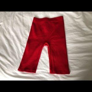 Red Zara Biker Shorts - Ribbed